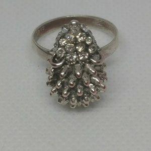 Hedgehog Ring Size 8 Silver tone and Rhinestones